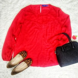 Apt. 9 Red Blouse Lace Detail 💃